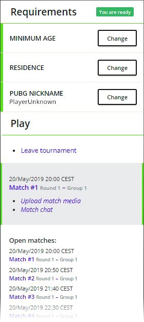 Example image of when player has open matches to attend