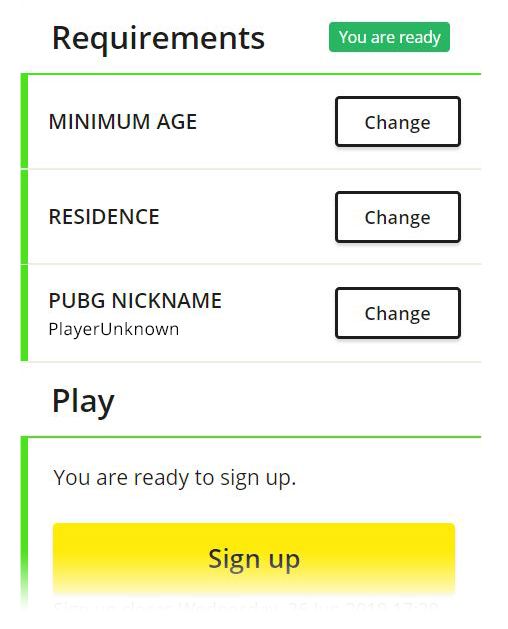 Example image of fulfilling all registration requirements